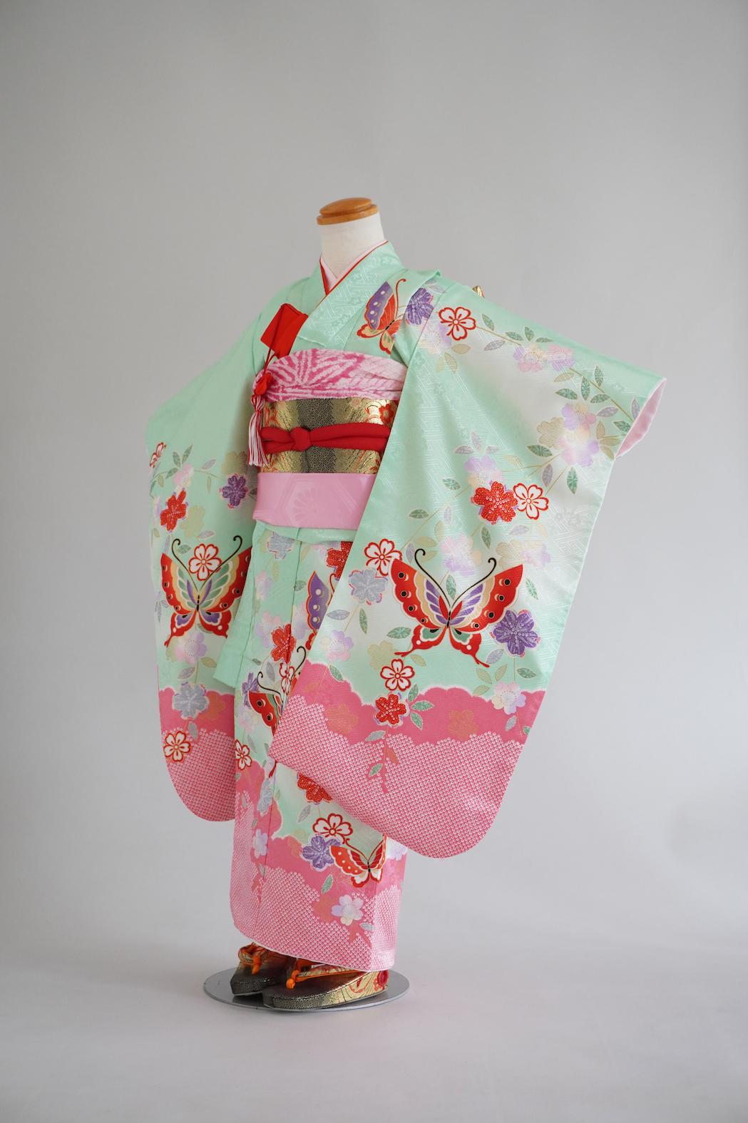 3歳女の子着物 グリーン蝶