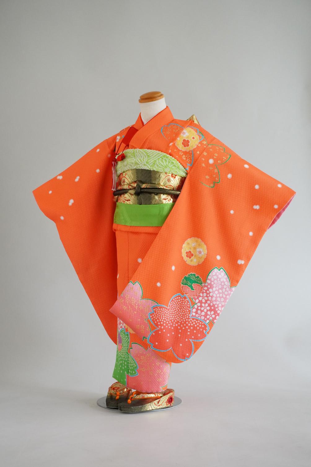 3歳女の子 着物 オレンジ桜柄