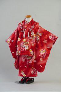 3歳女の子 正絹 赤桜鼓