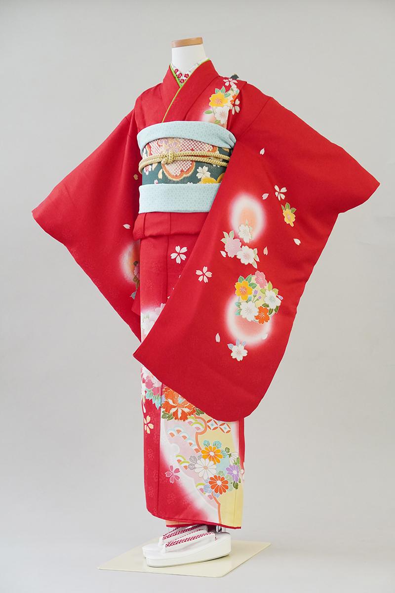 7歳女の子 正絹赤ぼたん桜